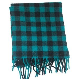 Vintage GAP Teal Black Check Plaid Lambswool Scarf
